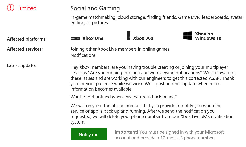 Xbox.com matchmaking service alert