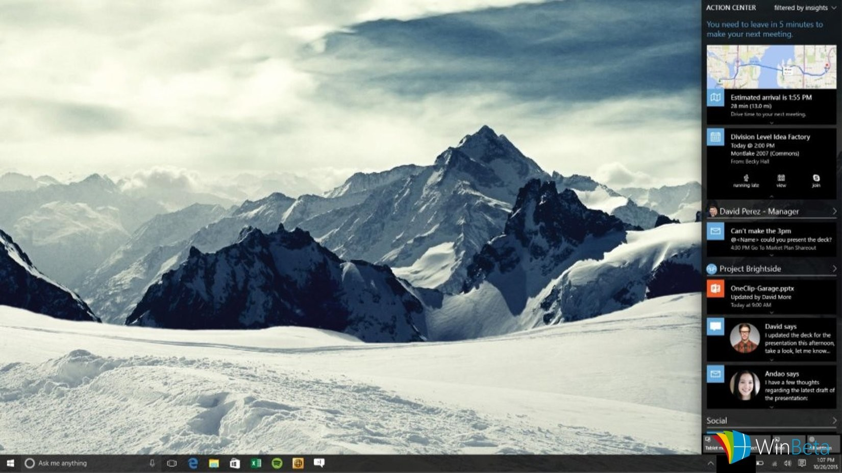 Action Center and Cortana to use cards in upcoming Windows 10