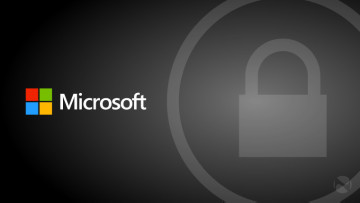 A Microsoft logo on a grey background with a padlock icon in a circle on the right