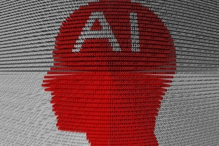 Stock image of AI with a red silhouette of a human head encompassing the letters A and I