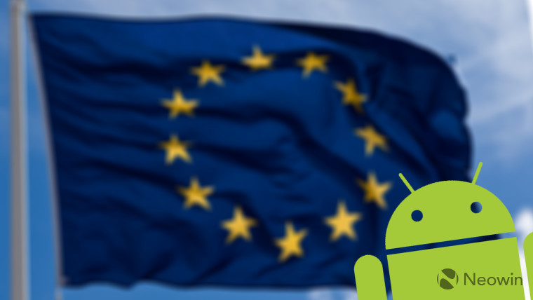 Android iconography on a blurred European flag waving in the background