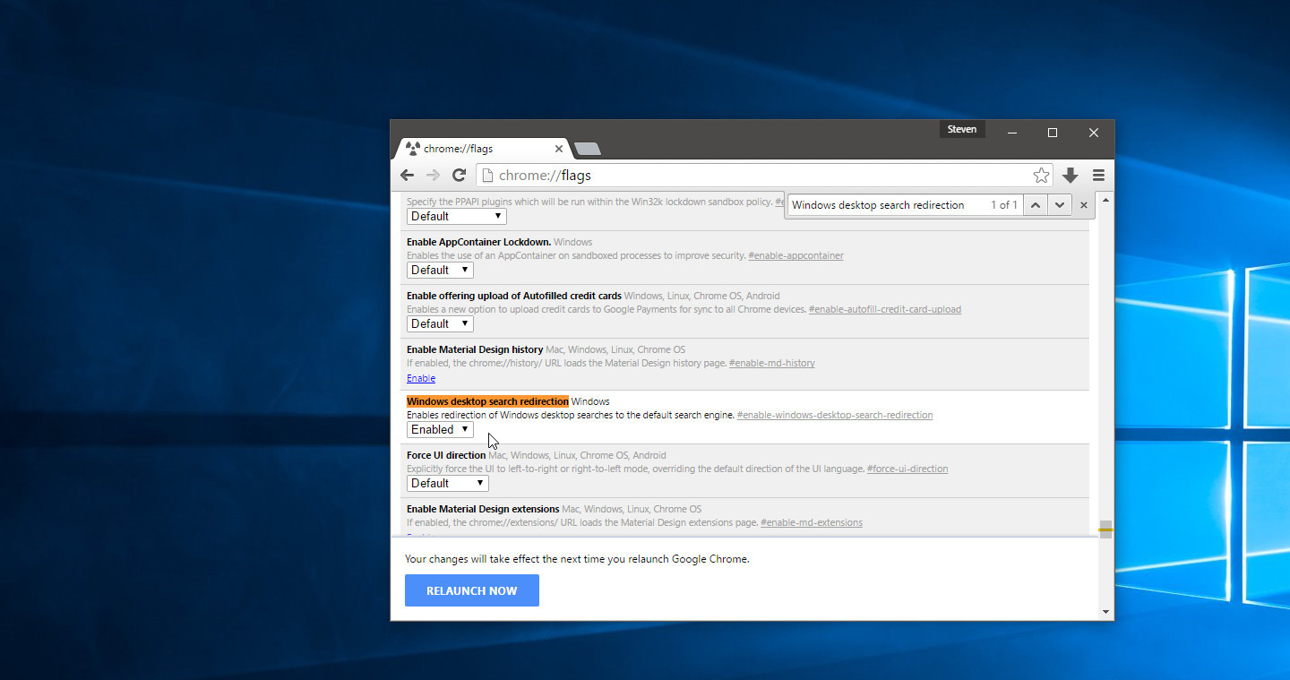 How to set Cortana to use Chrome 50 for its search results