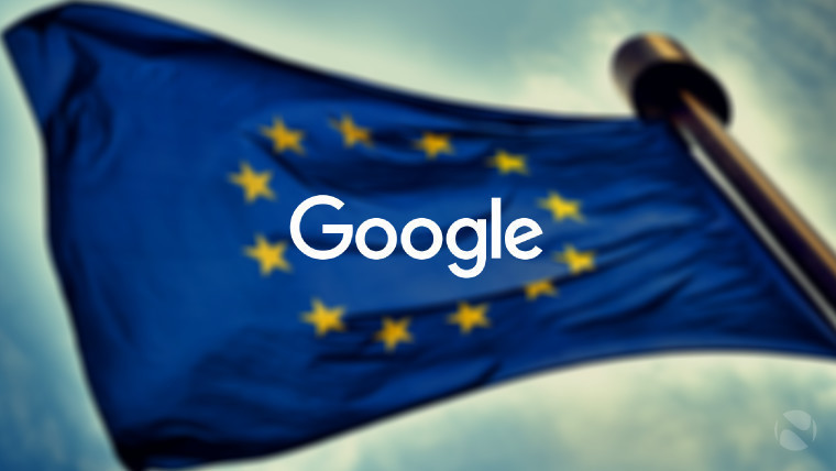 Google logo in front of the EU flag