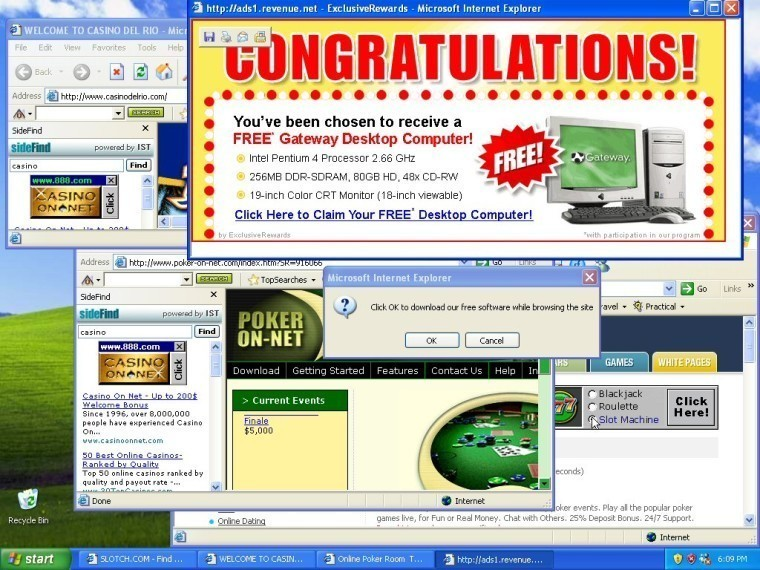 Tons of popup ads open on a Windows 7 PC
