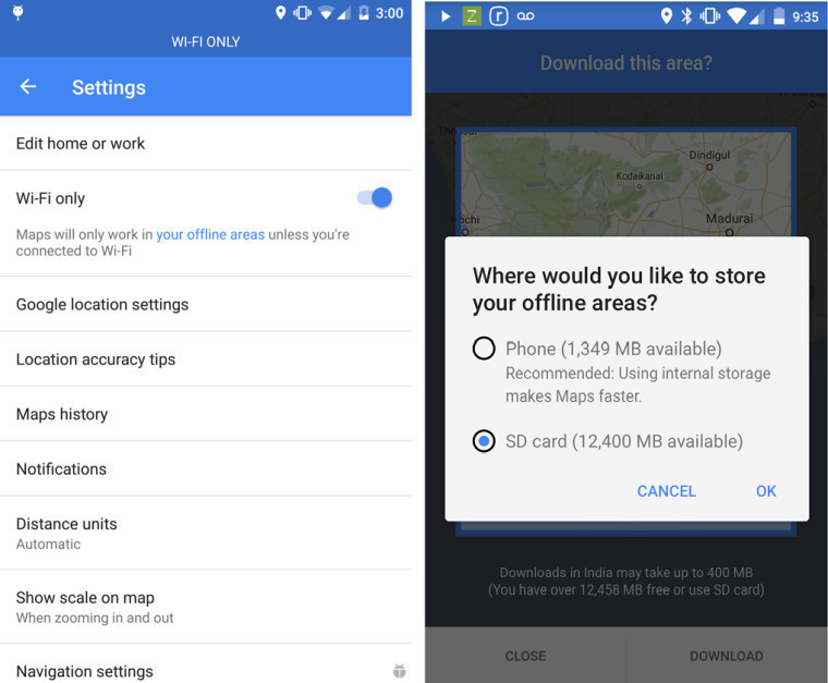 google maps how to use offline areas