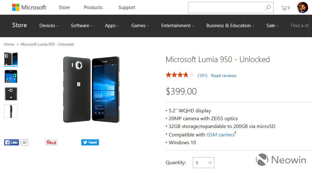 Microsoft has permanently cut the price of its Lumia 950 to $399