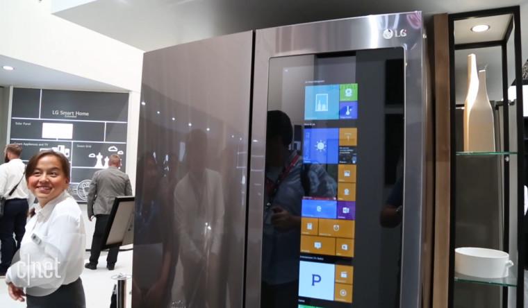 This LG refrigerator runs Windows 10 with Cortana, and has ...
