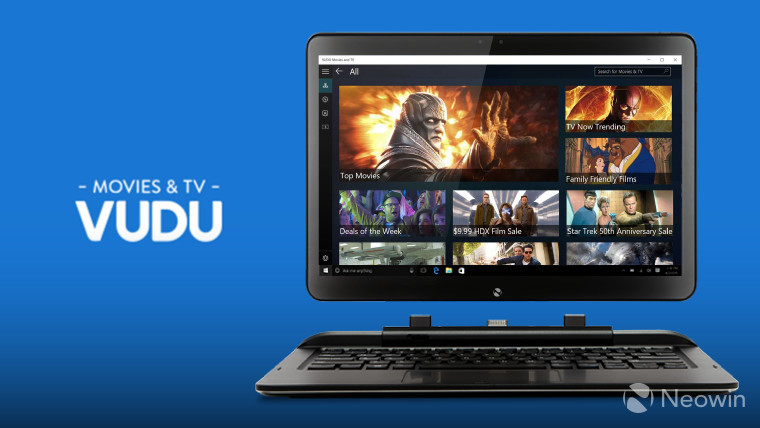 VUDU brings its app to Windows 10, offering TV and movie