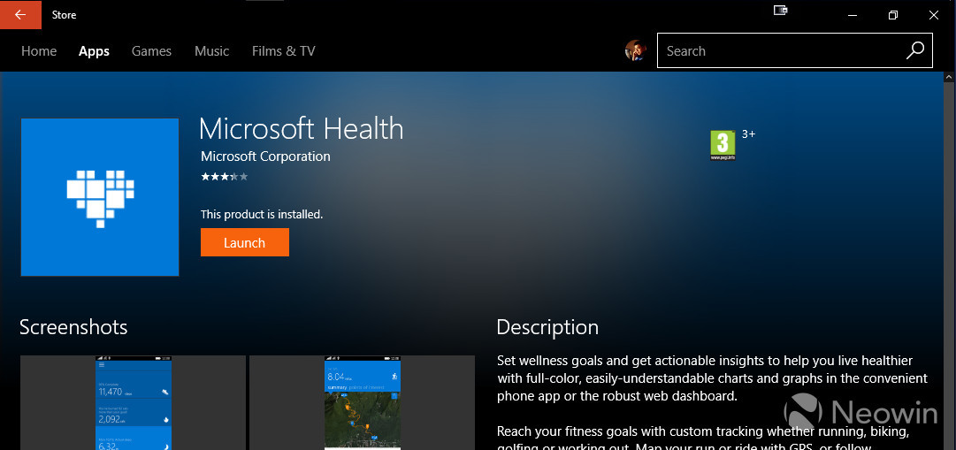 Microsoft Health app on Windows and Android has been
