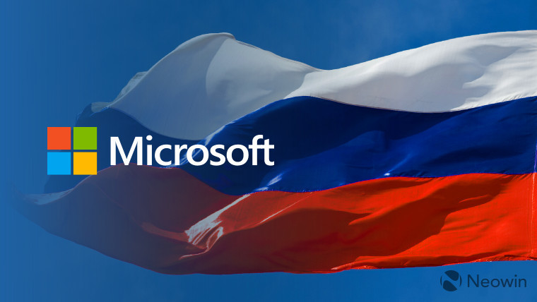 A Microsoft logo in front of a flag of Russia