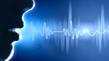 A silhouette of a person on the left with sound waves coming out of their mouth on a blue background