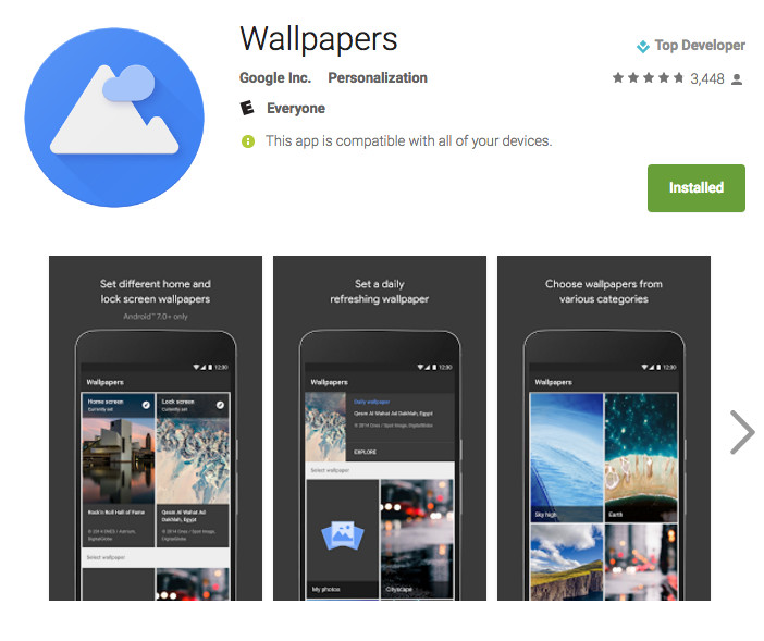 Google's Wallpaper app now available on the Google Play Store