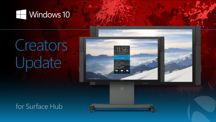 Windows 10 Creators Update for Surface Hub text with Surface Hub image