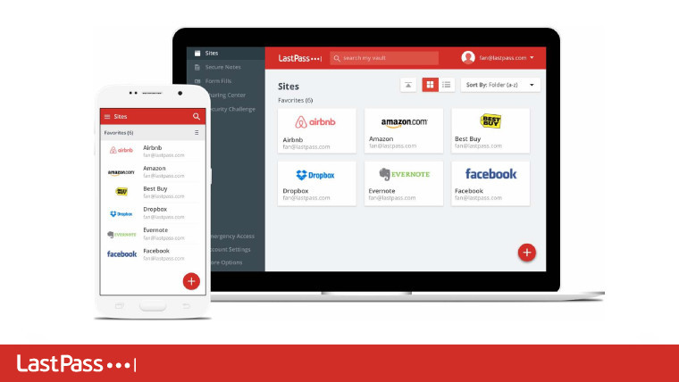 Mobile and PC versions of the LastPass app next to each other