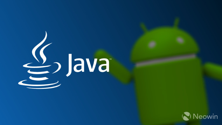 The Java logo with the Android mascot in the background