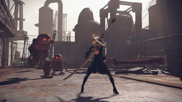 A screenshot from Nier Automata which shows the character about to enter combat