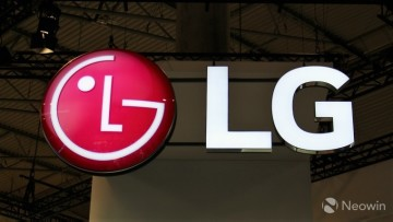 A light fixture in the shape of the LG logo hanging from the ceiling