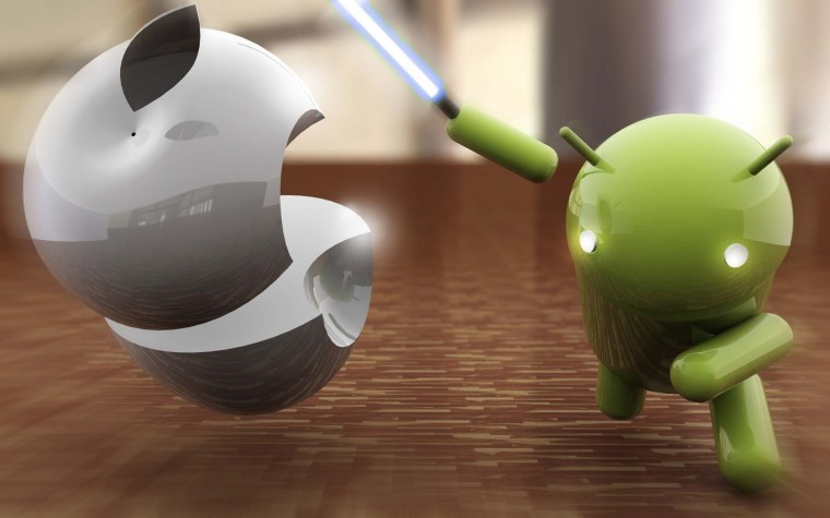 A graphic showing an Android icon cutting an Apple with a lightsaber