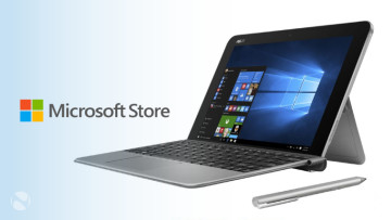 An Asus Transformer Mini 2-in-1 with Microsoft Store branding on the right