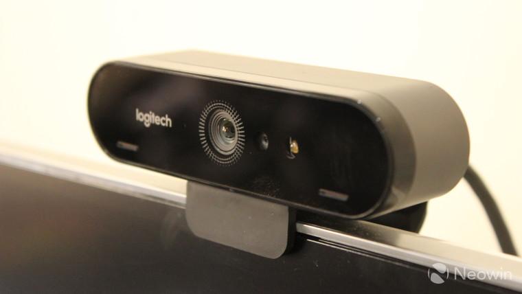 Close-up of the Logitech Brio webcam