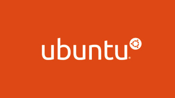 The Ubuntu logo on an orange background