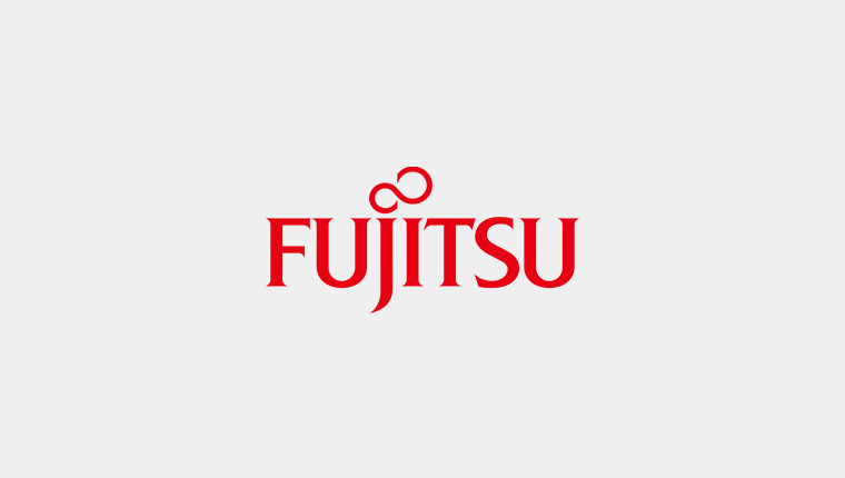 Fujitsu logo on a grey background