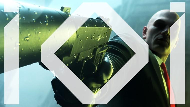 IO Interactive logo on top of Agent 47