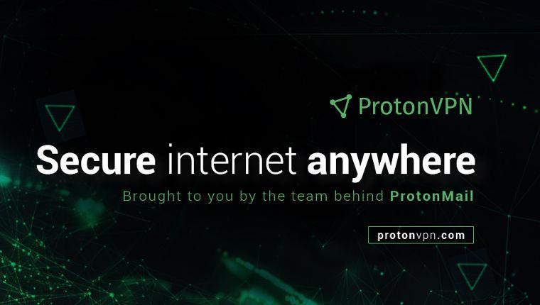 ProtonVPN banner advertising secure internet