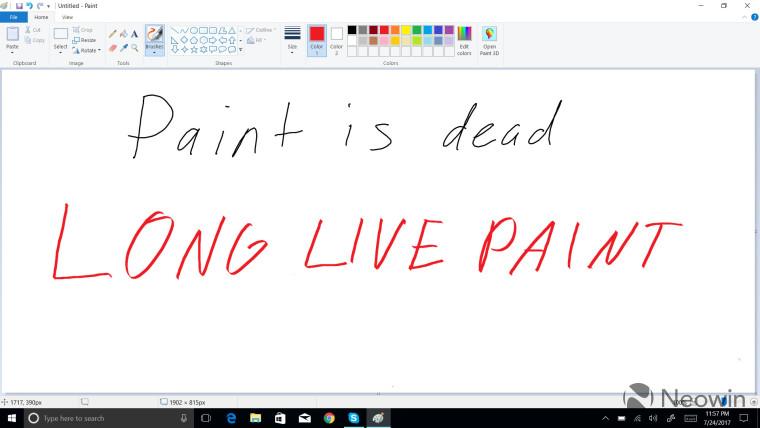 Paint is dead long live Paint written text in Paint