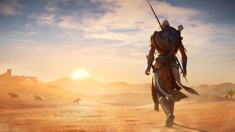 This is a screenshot from Assassins Creed Odyssey which shows the Egyptian desert landscape