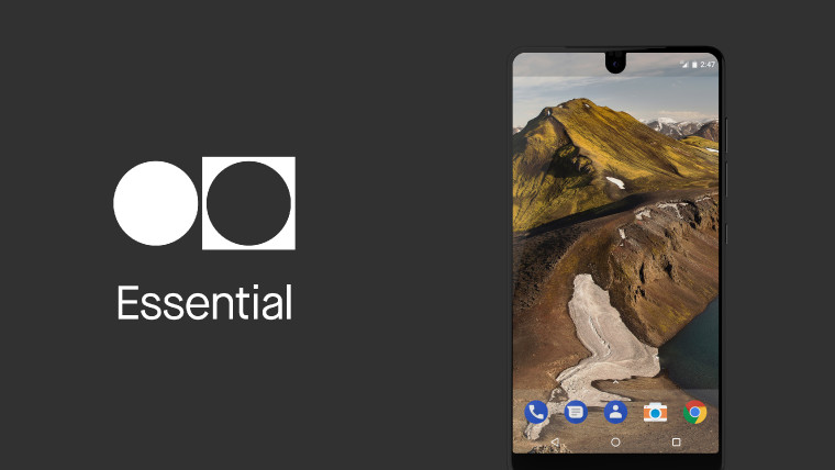 Essential phone on dark background with Essential text and logo