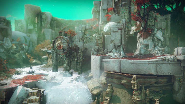 This is a screenshot from Destiny 2 that focuses on a multiplayer map.