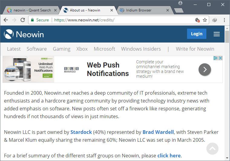 Iridium Secure WebRTC Browser