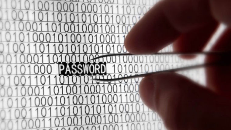 A metaphor showing a person using tweezers to pick up a password from in between binary characters