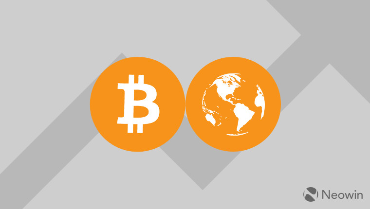 The Bitcoin logo next to the Earth on a grey background