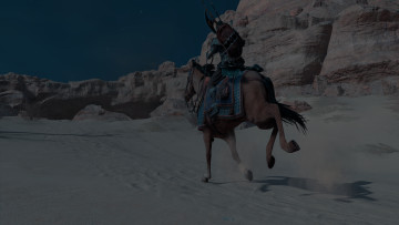 This image shows the protagonist riding a horse in the deserts of Egypt