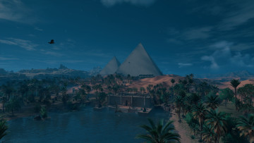This screenshot from Assassin's Creed Origins depicts the Pyramids of Giza.