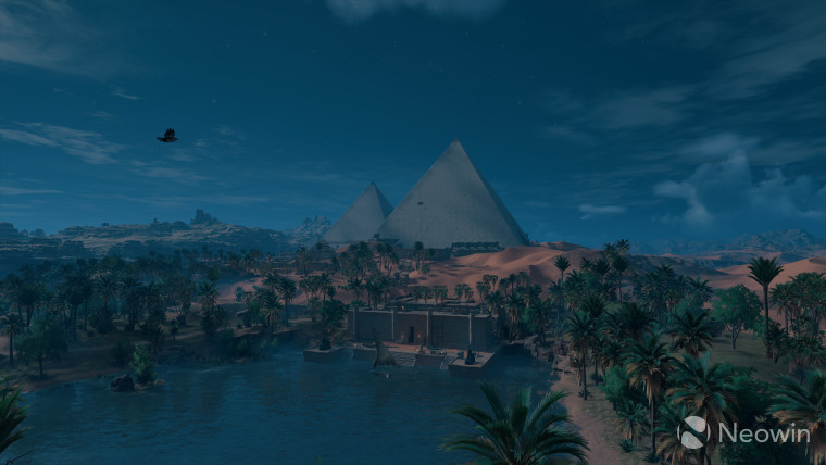 This screenshot from Assassins creed depicts origins of the giza pyramids