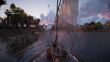 This is a screenshot from Assassins Creed Origins which focuses on navigating the waters of the Nile