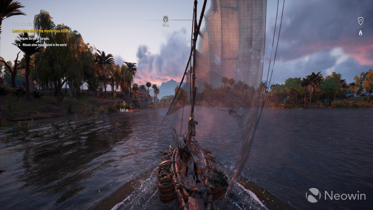 This is a screenshot from Assassins Creed Origins which focuses on navigating the waters of the Nile river