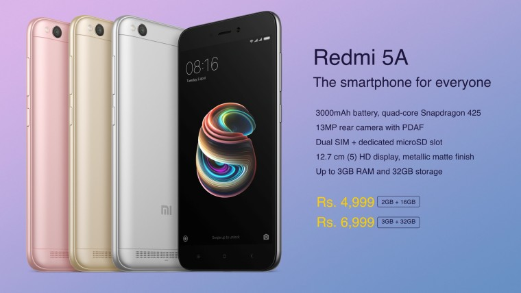 Xiaomi Redmi 5A now available in India for the low price of