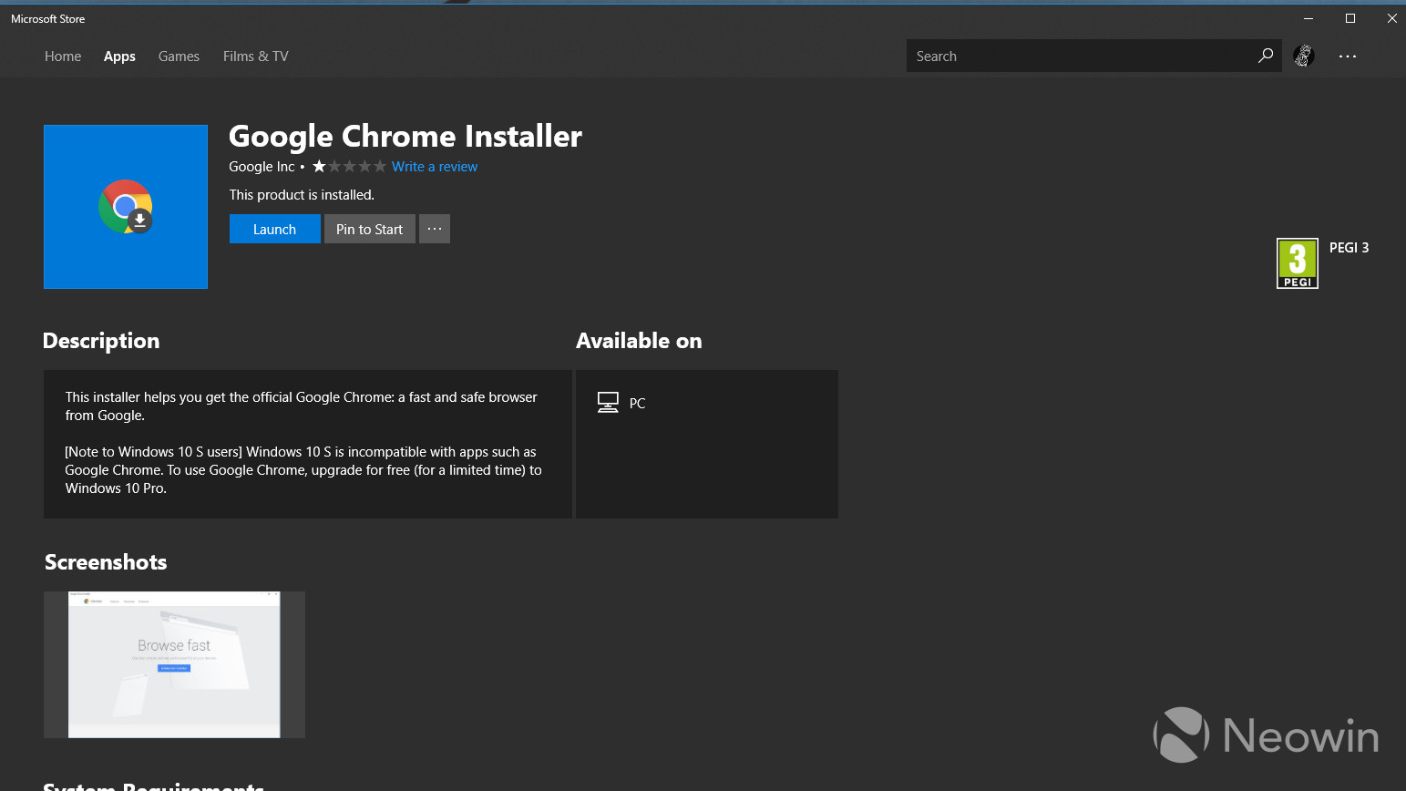 Google brings Chrome Installer to Microsoft Store