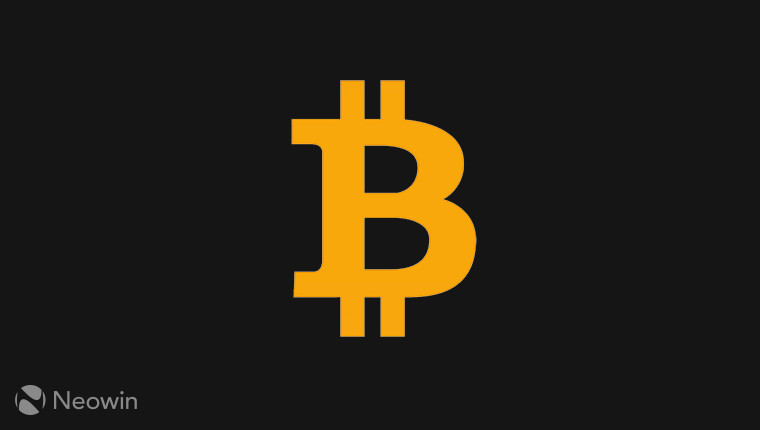 A bitcoin logo variant on a black background