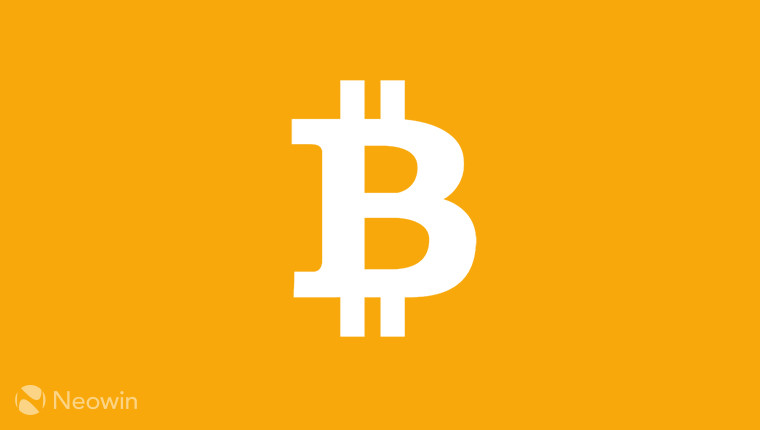 The bitcoin logo on a gold background