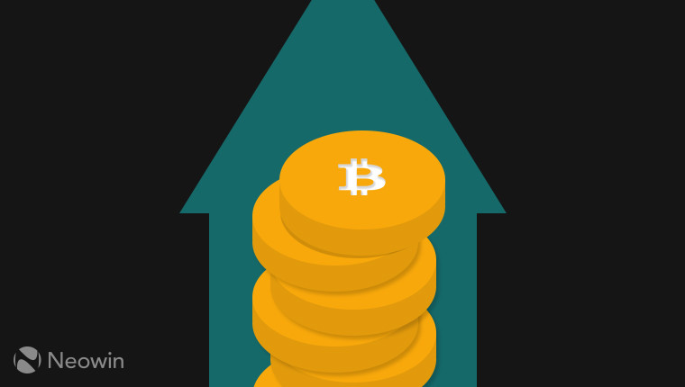 Bitcoins stacked in front of an up arrow
