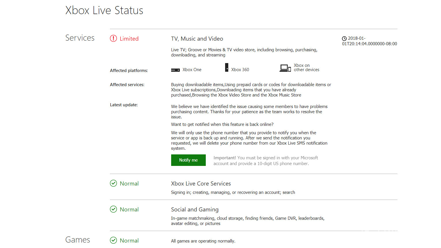 some xbox live services are down, microsoft promises to resolve