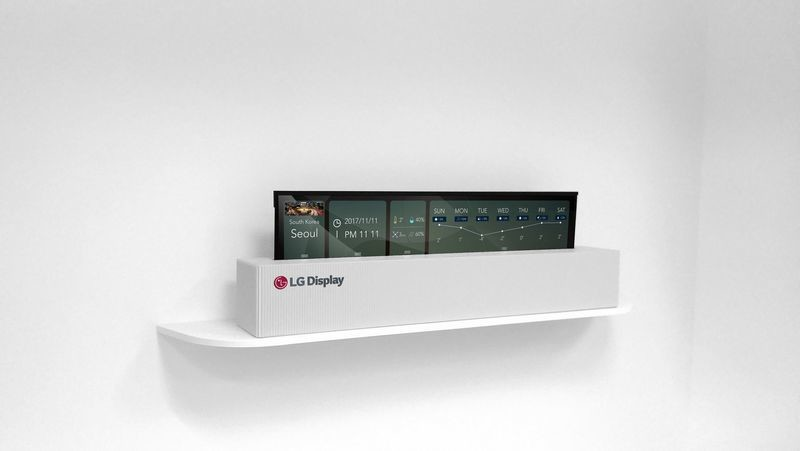 A 65-inch rollable OLED TV is officially unveiled by LG Display