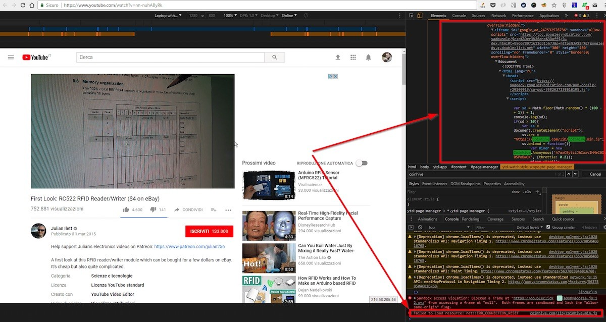 Cryptojackers hijacked YouTube ads with a CPU-draining Monero miner