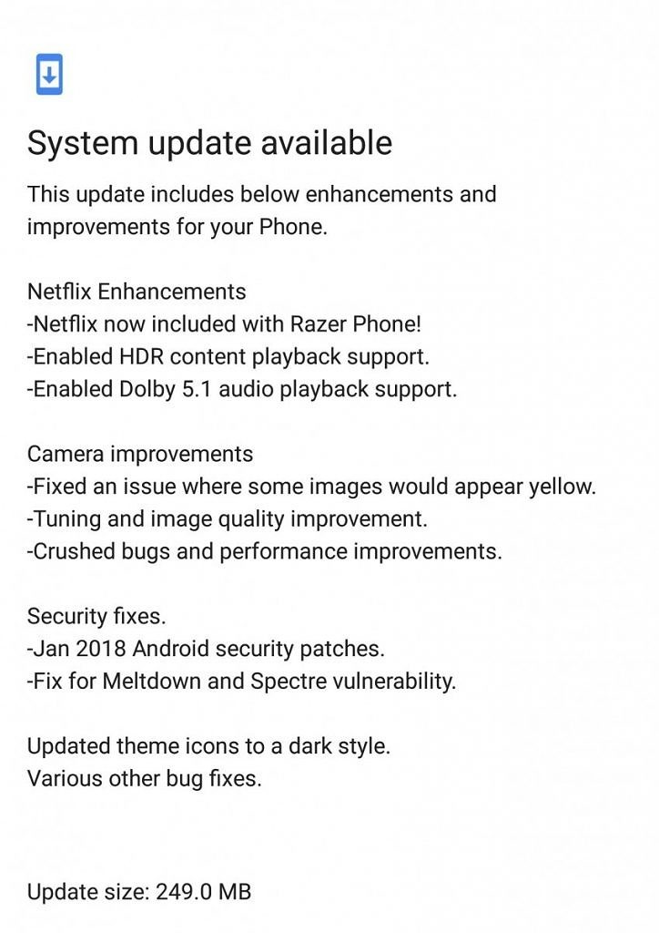 Razer Phone updated with Meltdown and Spectre fix, Netflix HDR