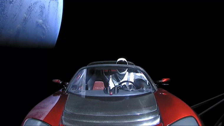 Elon Musk posts photo of car in space
